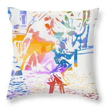 Throw Pillow featuring the painting Colorful Fearless Girl by Dan Sproul