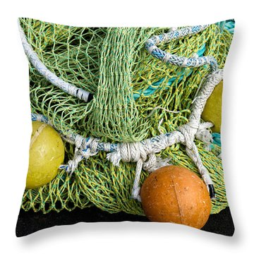 Colorful Fishing Nets And Buoys Throw Pillow
