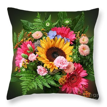 Colorful Flower Arrangement Throw Pillow