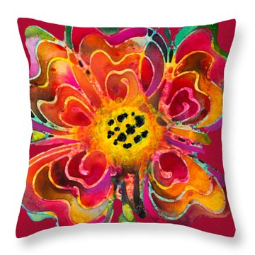 Throw Pillow featuring the painting Colorful Flower Art - Summer Love By Sharon Cummings by Sharon Cummings
