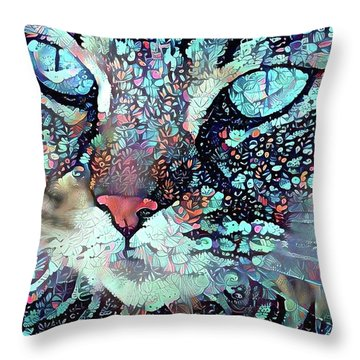 Colorful Flower Cat Art - A Cat Called Blue Throw Pillow by Peggy Collins
