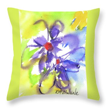 Colorful Flower Throw Pillow by Kathleen McElwaine
