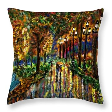 Colorful Forest Throw Pillow by Darren Cannell