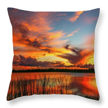 Throw Pillow featuring the photograph Colorful Fort Pierce Sunset by Tom Claud