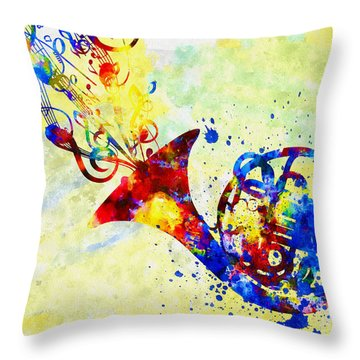 Colorful French Horn Throw Pillow by Olga Hamilton