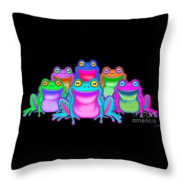 Throw Pillow featuring the painting Colorful Froggies by Nick Gustafson