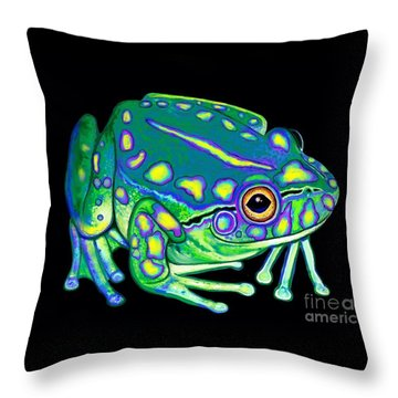 Throw Pillow featuring the painting Colorful Froggy 2 by Nick Gustafson