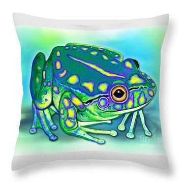 Throw Pillow featuring the painting Colorful Froggy by Nick Gustafson