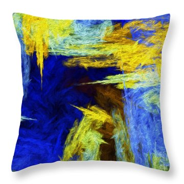 Colorful Frost Abstract Throw Pillow by Andee Design