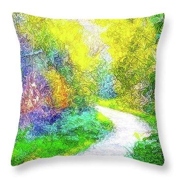 Colorful Garden Pathway - Trail In Santa Monica Mountains Throw Pillow