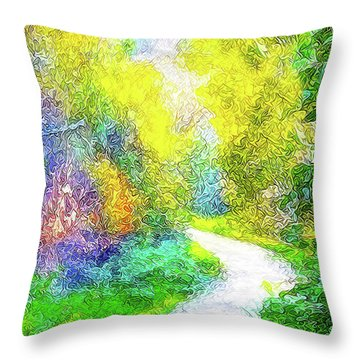 Throw Pillow featuring the digital art Colorful Garden Pathway - Trail In Santa Monica Mountains by Joel Bruce Wallach