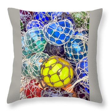 Colorful Glass Balls Throw Pillow by Carla Parris