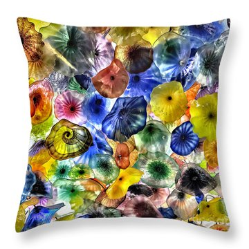 Colorful Glass Ceiling In Bellagio Lobby Throw Pillow by Walt Foegelle