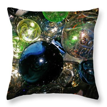 Colorful Glass Marbles Throw Pillow