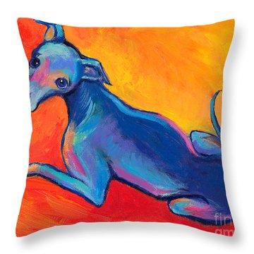 Colorful Greyhound Whippet Dog Painting Throw Pillow by Svetlana Novikova