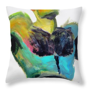 Colorful Hairy Boxer Throw Pillow by Shungaboy X
