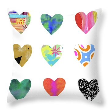 Colorful Hearts- Art By Linda Woods Throw Pillow