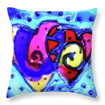 Throw Pillow featuring the painting Colorful Hearts Equals Crazy Hearts by Genevieve Esson