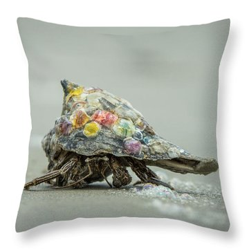 Throw Pillow featuring the photograph Colorful Hermit Crab by Chris Bordeleau