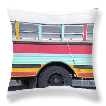 Throw Pillow featuring the photograph Colorful Hippy Bus Panorama  by Edward Fielding