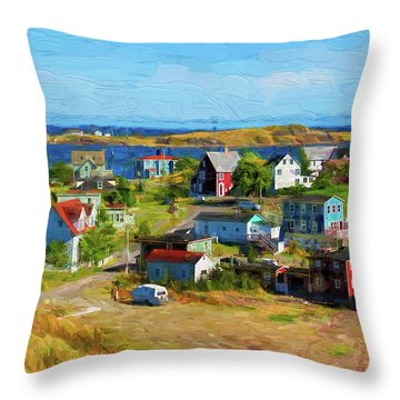 Colorful Homes In Trinity, Newfoundland - Painterly Throw Pillow by Les Palenik