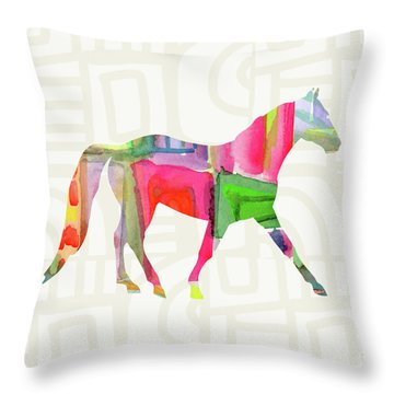Colorful Horse 1- Art By Linda Woods Throw Pillow