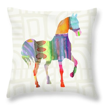 Colorful Horse 3- Art By Linda Woods Throw Pillow