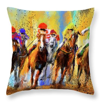 Colorful Horse Racing Impressionist Paintings Throw Pillow