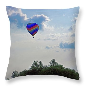 Throw Pillow featuring the photograph Colorful Hot Air Balloon by Angela Murdock