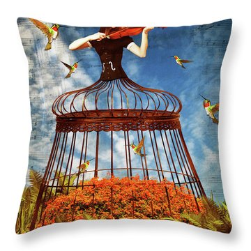 Colorful Hummingbird Song Throw Pillow by Mihaela Pater