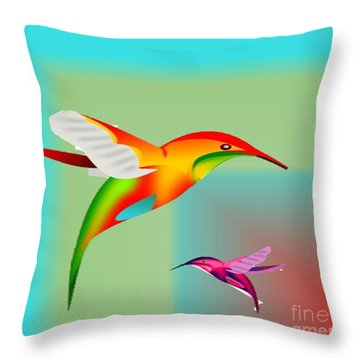 Colorful Hummingbirds Throw Pillow