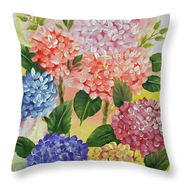 Throw Pillow featuring the painting Colorful Hydrangeas by Jimmie Bartlett