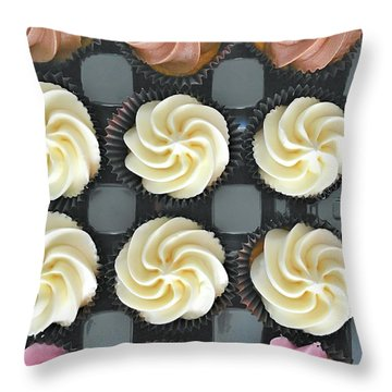 Colorful Iced Cupcakes Throw Pillow