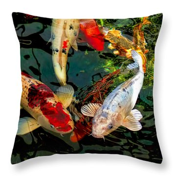 Colorful  Japanese Koi Fish Throw Pillow