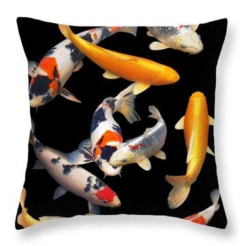 Colorful Japanese Koi Vertical Throw Pillow