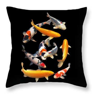 Colorful Japanese Koi Vertical Throw Pillow