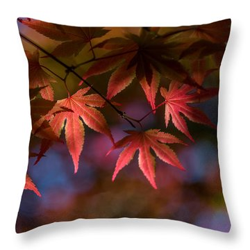 Colorful Japanese Maple Throw Pillow