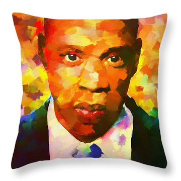 Colorful Jay Z Palette Knife Throw Pillow