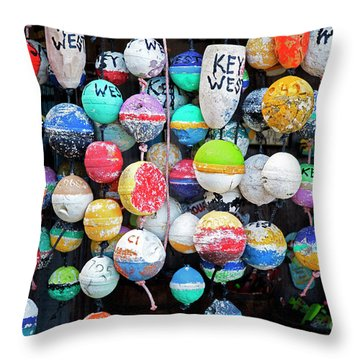 Colorful Key West Lobster Floats Throw Pillow