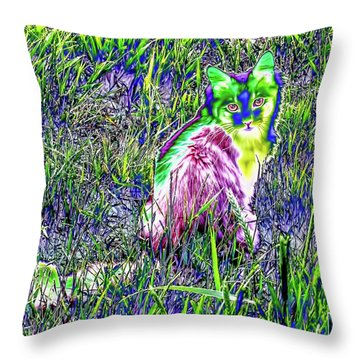 Colorful Kitty Throw Pillow