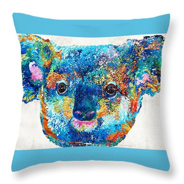 Colorful Koala Bear Art By Sharon Cummings Throw Pillow