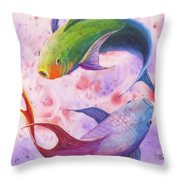 Throw Pillow featuring the painting Colorful Koi by Darice Machel McGuire