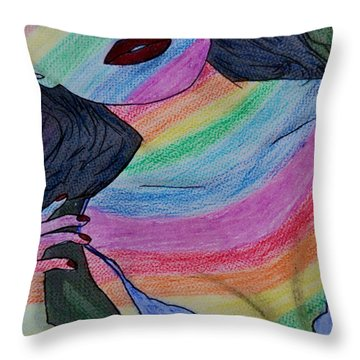 Colorful Lady Throw Pillow