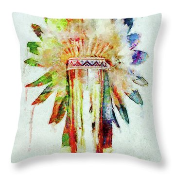 Colorful Lakota Sioux Headdress Throw Pillow