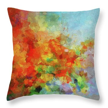 Throw Pillow featuring the painting Colorful Landscape Art In Abstract Style by Ayse Deniz