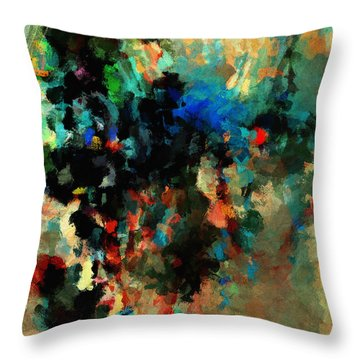 Throw Pillow featuring the painting Colorful Landscape / Cityscape Abstract Painting by Ayse Deniz