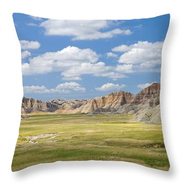 Colorful Landscape In Badlands National Throw Pillow by Philippe Widling
