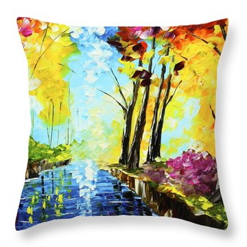 Colorful Landscape Throw Pillow