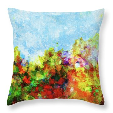Throw Pillow featuring the painting Colorful Landscape Painting In Abstract Style by Ayse Deniz