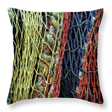 Colorful Layers Of Fishing Nets Throw Pillow